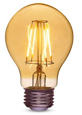 Reliquia A19 2000 K, 430 lm lámpara LED con baño de ámbar